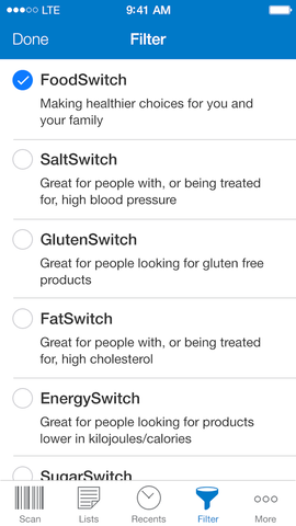 FoodSwitch - Select Filter